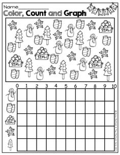Free Spring Graphing Worksheet Color count and graph the spring
