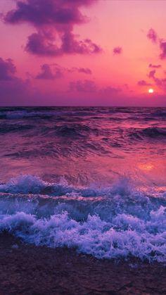 Pink sunset, sea waves, beach, wallpaper in 2019 Tumblr Wallpaper, Sunset Wallpaper, Iphone Background Wallpaper, Galaxy Wallpaper, Aesthetic Iphone Wallpaper, Nature Wallpaper, Aesthetic Wallpapers, View Wallpaper, Travel Wallpaper