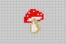 Mushroom Pixel Art - A mushroom (or toadstool) is the fleshy, spore-bearing fruiting body of a fungus, typically produce - Pixel Art Templates, Perler Bead Templates, Perler Patterns, Small Cross Stitch, Cross Stitch Designs, Cross Stitch Patterns, Kawaii Cross Stitch, Cross Stitching, Cross Stitch Embroidery