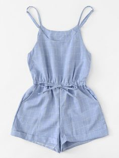 Shop Drawstring Waist Grid Print Cami Jumpsuit at ROMWE, discover more fashion styles online. Cute Comfy Outfits, Pretty Outfits, Stylish Outfits, Girls Fashion Clothes, Teen Fashion Outfits, Girl Outfits, Summer Outfits For Teens, Teenager Outfits, Ideias Fashion