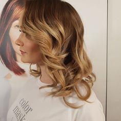 Balayage dark to blond shiny hair
