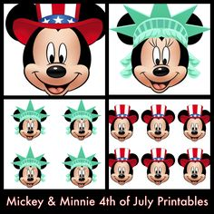 After the popularity of my other Mickey and Minnie decorative printables , I've decided to make some for the of July! Fourth Of July Decor, Happy Fourth Of July, 4th Of July Party, July 4th, Disney Diy, Disney Crafts, Disney Mickey, Mickey Mouse, July 4 Birthdays