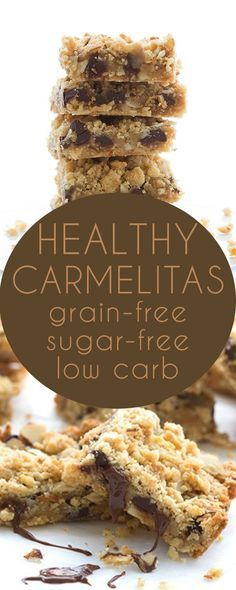 No sugar or grains. LCHF THM Banting Recipe Heavenly low carb crumb bars filled with sugar-free caramel and chocolate. You'd hardly believe that this grain-free treat isn't made with oats! Keto Foods, Keto Snacks, Healthy Snacks, Snacks List, Protein Foods, Easy Snacks, Healthy Fats, Paleo Diet, Healthy Weight