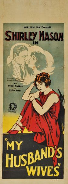 Theatrical poster for the 1924 silent film My Husband's Wives.  The film is lost.