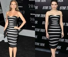 Herve Leger stripe black and white bandage dress