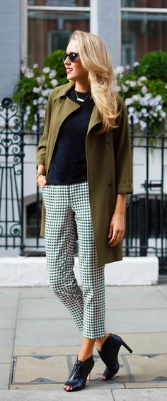olive green coat, black and white houndstooth cropped pants, angora sweater + lace up peep toe booties