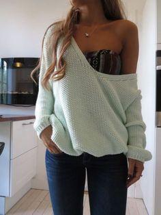 underwear aztec bra and off-soulder oversized pullover