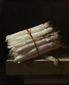 It is the season for asparagus!  Coorte produced mostly small, intimate still lifes. Through their simple subjects – asparagus or berries – these modest paintings stand out in stark contrast to the sumptuous still lifes that were in fashion at the time. While the aim of those works was to present a superabundance of costly objects and foodstuffs, here attention is focused on the refined rendering of a single vegetable.  Still Life with Asparagus, Adriaen Coorte, 1697  #Rijksmuseum #Amsterdam