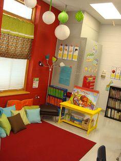 First grade classroom reading area.