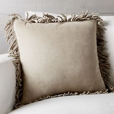 Shop Brenner Velvet Fringe Pillow. Our mid-century-inspired, barely brown velvet accent pillow lets loose in chunky, dyed-to-match cotton fringe. Its rich, solid color and plush texture layer together and mix well with coordinating patterns and solids.