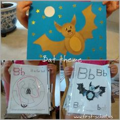 Bats theme activities and crafts for toddlers, preschool and K, suitable for Halloween and  Stellaluna book (and other bat picture books).