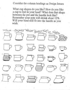 (Mud)Bucket: Figuring Out Form--brief but useful discussion of exploring form. This sketch references an exercise done by Amy Horn, replicating each of 30 mugs to explore form and function in one type of piece Pottery Tools, Pottery Classes, Slab Pottery, Pottery Wheel, Pottery Mugs, Ceramic Pottery, Ceramic Techniques, Pottery Techniques, Clay Mugs