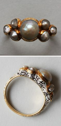 late Renaissance gold, enamel and pearl ring, second half of the 17th century.