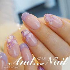 ネイル(No.1924974)|シンプル |フラワー |オフィス |オールシーズン |フレンチ |春 |スモーキー |冬 |パープル |ボタニカル |ジェルネイル |お客様 |ホワイト |ハンド |ミディアム | かわいいネイルのデザインを探すならネイルブック!流行のデザインが丸わかり! Fancy Nails, Cute Nails, Pretty Nails, My Nails, Nail Polish Designs, Nail Art Designs, Kawaii Nails, Round Nails, Japanese Nails