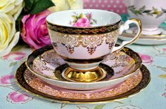 Tuscan pink floral and black vintage tea trio