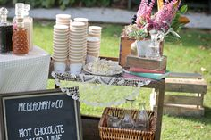 coffee and hot chocolate stand for winter wedding ceremony