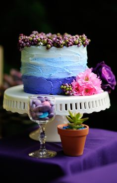 Beautiful and delicious cake by Cakes by Sarah during our styled shoot with a lavander/purple/violet color wedding theme. Photographed by Glen Cabotage and styled by Dream Bloom Lavander, Yummy Cakes, Bloom, Joy, Purple, Desserts, Flowers, Wedding, Beautiful