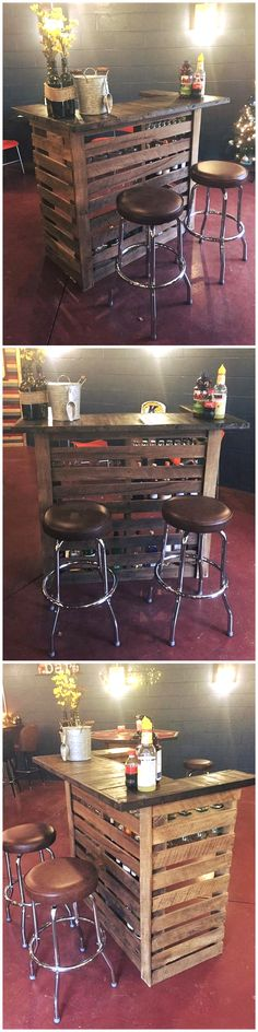 repurposed wooden pallet bar