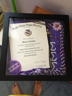 Great idea to display your badge, certificate of initiation, tassel, etc. in a shadow box or photo frame. #trisigma #sigmasigmasigma