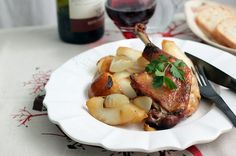 Honey Mustard Roasted Duck Legs with Pears