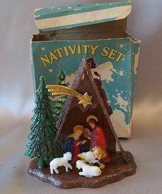 "Vintage Christmas Nativity ~ Tiny 3 1/2"" Tall Plastic Nativity"