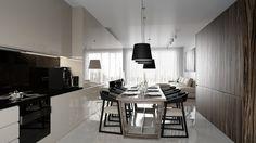 Wnętrze minimalistyczne, jadalnia w kuchni