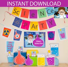 Make your Science party go with a bang with this Science Party Decorations & Props Printable Kit.    This Science Collection is for girls, and is coloured with brown hair. Also available in other colours for boys and girls. ★ See all my Science Party printable templates★  https://www.etsy.com/au/shop/CreativeLittleStars/search?search_query=Science      A download link will be sent INSTANTLY to the email account that you have with ETSY    This full package includes editable* printable PDF…