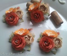 Shades of Orange and Ivory - Wedding Corsages #paperflowers #corsage #weddingflowers