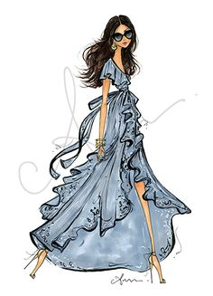 fashionillustr.quenalbertini: Wrap Dress by Anum Tariq