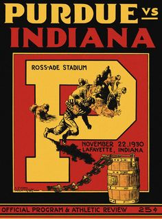 1930 Purdue vs. Indiana football poster for the Oaken Bucket game Way to go!!    #IUCollegeFootball