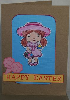Happy Easter Card Handmade Hand Coloured by JemLouProductions