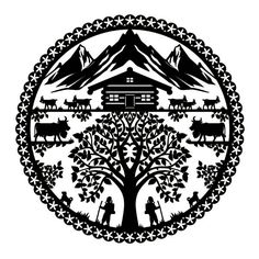 Chalet suisse. Stencil Art, Stencils, Paper Art, Paper Crafts, Paper Cutting Templates, Paper Cut Design, Silhouette Cameo Tutorials, Wood Burning Crafts, Scroll Saw Patterns