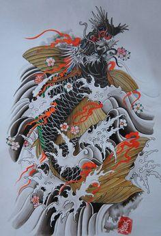 (428) Twitter Koi Dragon Tattoo, Dragon Fish, Koi Fish Tattoo, Dragon Tattoo Designs, Fish Tattoos, Koi Tattoo Design, Japanese Tattoo Art, Japanese Tattoo Designs, Traditional Japanese Art