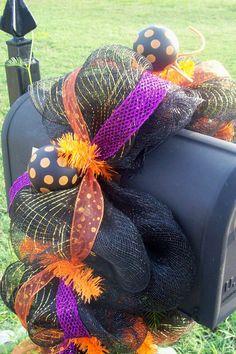 Halloween Orange and Purple Mailbox Swag by lilmaddydesigns, $53.00