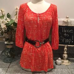 """❤️Anthropologie Deletta Top Beautiful red and white top with 3/4"""" sleeve and tow small front buttons. 100% rayon  -  in Excellent Condition. Anthropologie Tops"""