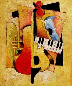 Cuadros Modernos Pinturas y Dibujos : Cuadros con Instrumentos Musicales Guitar Painting, Music Painting, Cubist Drawing, African Art Paintings, Jazz Poster, Mother Art, Jazz Art, Art Plastique, Cute Drawings