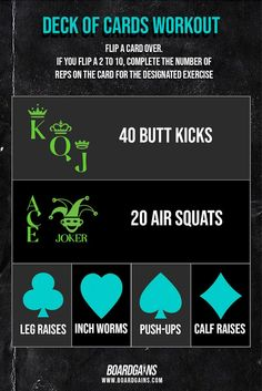 This deck of cards workout is a fun and effective full body workout you can do at home or at the gym. All exercises require no equipment and use bodyweight only. Super fun way to spice up your workout and can be played with a partner or group! Fit Board Workouts, Fitness Workouts, Fun Workouts, At Home Workouts, Fitness Games For Kids, Exercise For Kids, Body Workout At Home, At Home Workout Plan, Gym Routine For Beginners