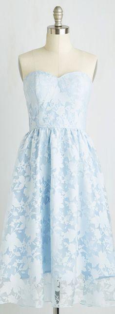 ice blue strapless midi dress