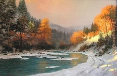 Thomas Kinkade Fall | Thomas Kinkade - Thomas Kinkade Autumn Snow Painting