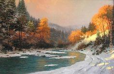 Thomas Kinkade Fall | Thomas Kinkade - Thomas Kinkade Autumn Snow Painting
