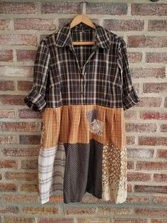 XXL 1X 2X Fall/Thanksgiving/Plaid Shirt/Plus Size Upcycled