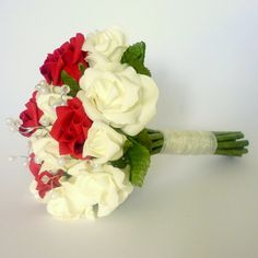 Red and ivory crystal bridesmaid bouquet - www.posie.co.uk