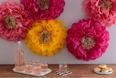 Decorate for parties and other celebrations with the Poppy Flowers Tissue Paper Pom Pom Kit by Martha Stewart Crafts. These pom pom flowers are easy to make and Pom Pom Flowers, Tissue Paper Flowers, Paper Flower Backdrop, Big Flowers, Fabric Flowers, Poppy Flowers, Paper Poms, Martha Stewart Crafts, Paper Crafts