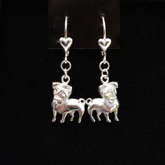 Sterling Silver Pug Earrings by Donna Pizarro from the Animal Whimsey Collection of Dog Jewelry and Pug Jewelry