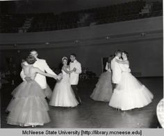 Homecoming 1954 - couples dance in Bulber Auditorium :: Historic Photographs of Southwest Louisiana