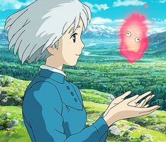 Howl's Moving Castle from Studio Ghibli. Sophie and Calcifer. Studio Ghibli Art, Studio Ghibli Movies, Studio Ghibli Quotes, Hayao Miyazaki, Totoro, Sophie Howl's Moving Castle, Anime Manga, Anime Art, Film Animation Japonais