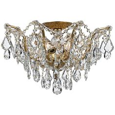 "Crystorama Filmore 19"" Wide Antique Gold Ceiling Light - #5R125 