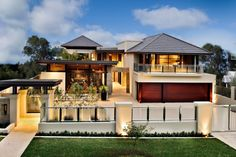 Architecture, Custom Luxury Home Designs With Pointed Roof And Cream Wall Also Outsize Glass Windows Facing Glass Railing And Sweet Glass Fence Also Green Grass Yard: Decorating The Luxury Home Designs Through The Custom Style For The High Class Life Style
