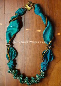 Cellini Spiral & Shibori Silk Necklace designed by Gwen Lane & Alisa Neal of TerraFusion Designs