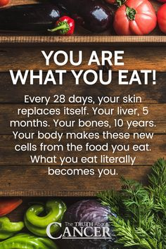 Amazing how the body works, isn't it? Every 28 days, your skin replaces itself. Your liver, 5 months. Your bones, 10 years. Your body makes these new cells from the food you eat. What you eat literally becomes you. And how to eat healthy? Click through to learn on how to make your efforts at eating healthy much more productive. Please re-pin. Together we can educate the world about healthy lifestyle!